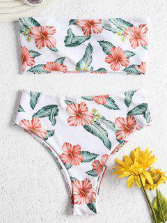 Bikini En Ensemble Floral Taille Haute Et Sans Bretelles   - Blanc S
