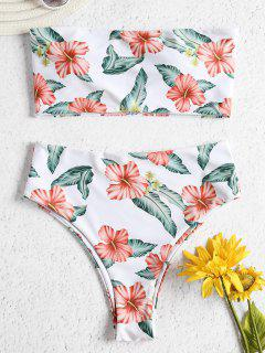 Strapless Flower High Waisted Bikini Set - White L