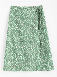 Tiny Floral Buttoned Wrap Skirt - Clover Green M