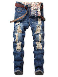 Torned Spatter Paint Print Zipper Fly Jeans - Light Blue 34