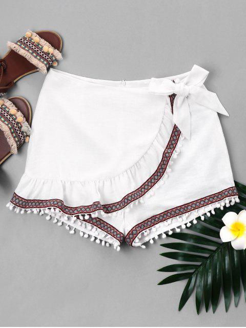 shop Ruffled Pompom Tribal Knot Shorts - WHITE L Mobile