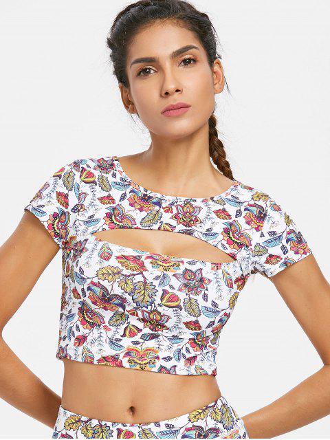 Camiseta con diseño floral recortable - Blanco L Mobile