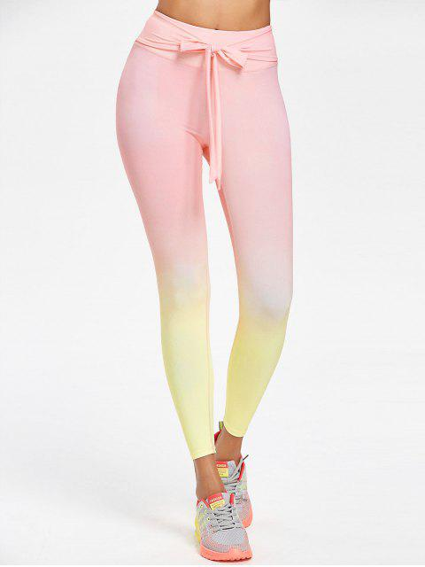online Ombre Self-tie Sports Leggings - PIG PINK S Mobile