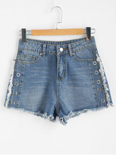Short en Denim à Ourlet Effiloché - Bleu Toile de Jean XL Mobile