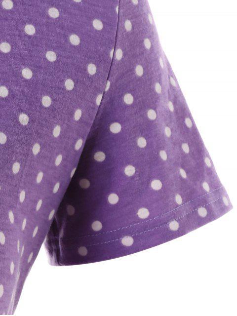 fancy Plus Size Polka Dot Wrap Tee - PURPLE FLOWER 1X Mobile