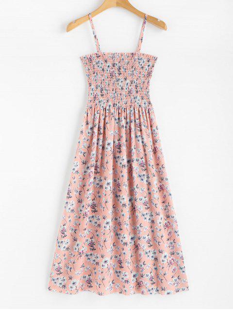 Robe mi-longue à imprimé floral et smockée - Rose Léger  Taille Unique Mobile