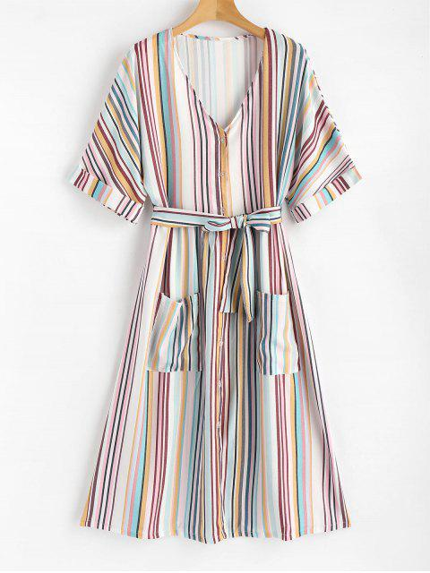 fancy Patch Pockets Striped Button Up Midi Dress - MULTI S Mobile
