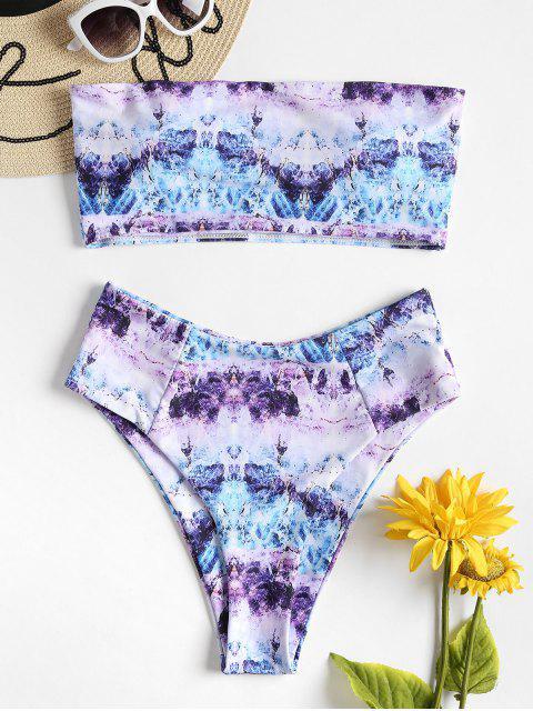 chic Tie Dye High Waisted Bandeau Bikini Set - MULTI L Mobile