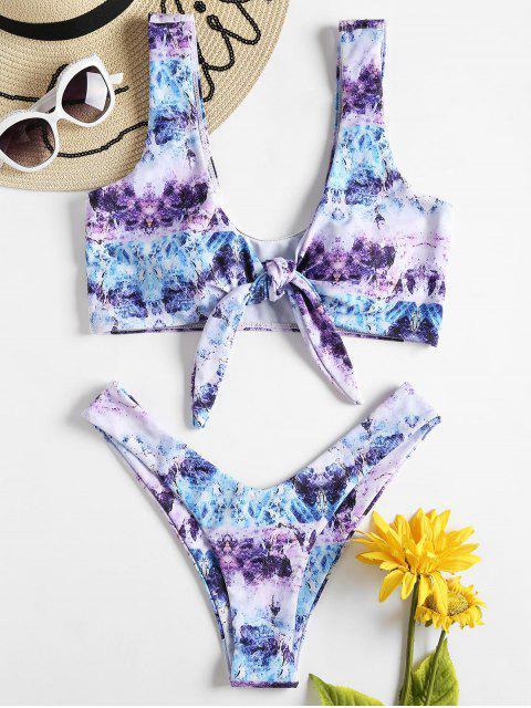 Riemchen Färbung Vorder Knoten Hohes Bein Bikini - Multi L Mobile