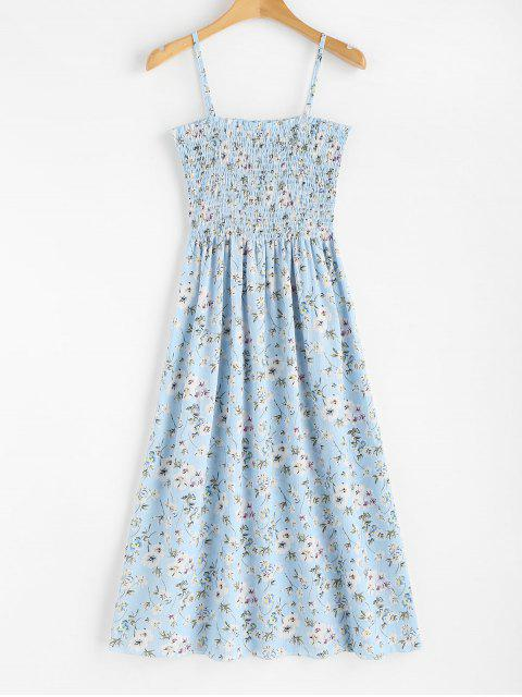 affordable Floral Print Smocked Cami Midi Dress - LIGHT SKY BLUE ONE SIZE Mobile