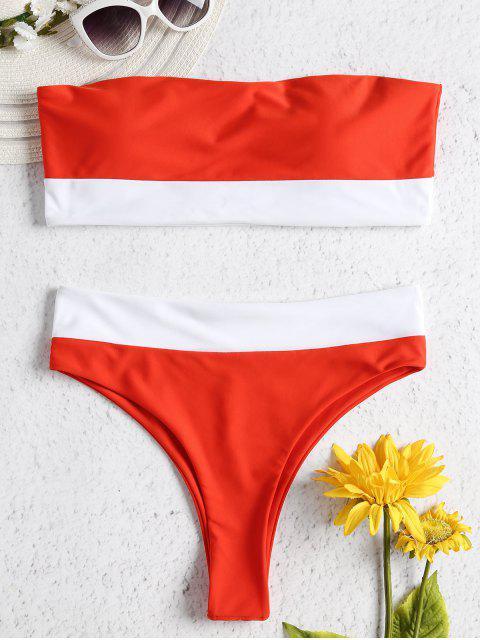 shop Two Tone High Waisted Bandeau Bikini - BRIGHT ORANGE L Mobile