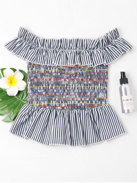 buy Striped Smocked Blouse - GRAY CLOUD L Mobile
