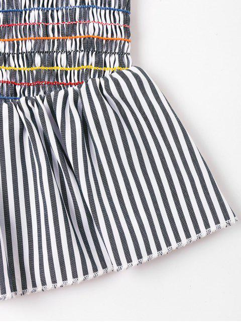 womens Striped Smocked Blouse - GRAY CLOUD M Mobile