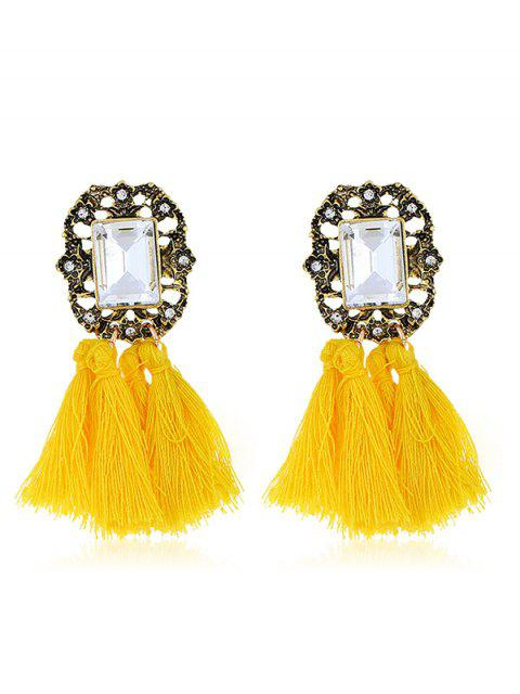 buy Statement Handmade Tassel Dangle Drop Earrings - YELLOW  Mobile