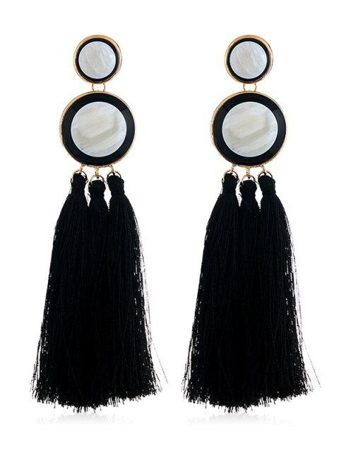 chic Boho Round Long Tassel Dangle Earrings - BLACK  Mobile