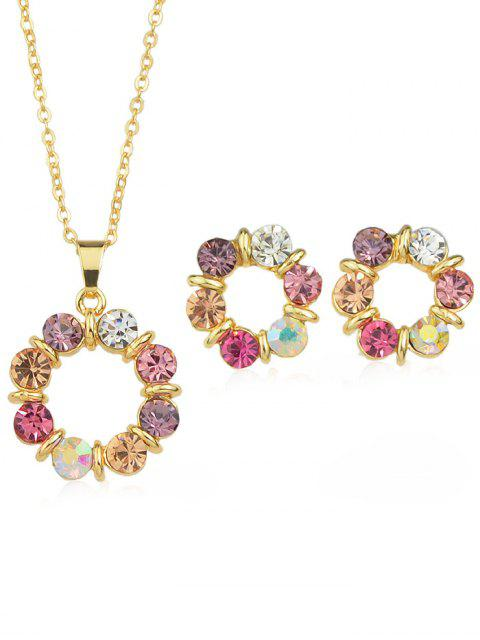 women's Rhinestone Plated Chain Hanging Necklace with Stud Earrings - MULTI  Mobile