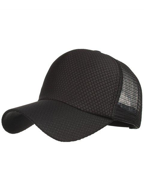 Chapeau de Protection Solaire en Maille de Couleurs Unie pour Plein-Air - Noir  Mobile