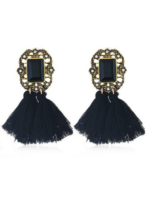 outfits Statement Handmade Tassel Dangle Drop Earrings - BLACK  Mobile