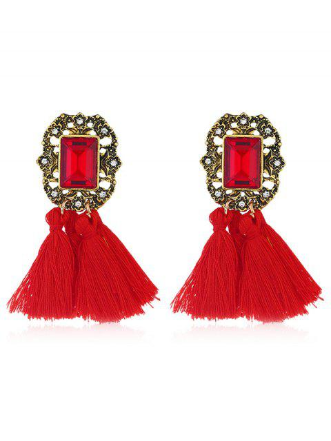 shop Statement Handmade Tassel Dangle Drop Earrings - RED  Mobile
