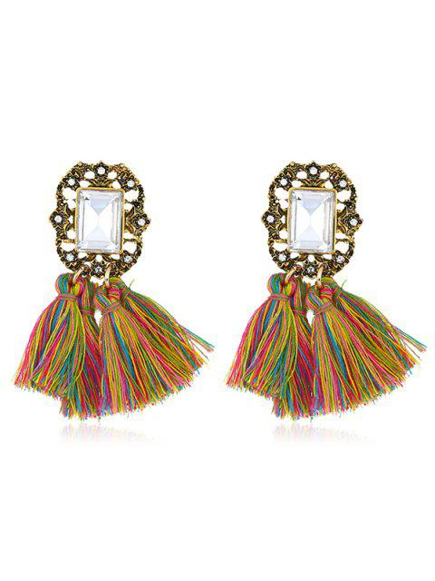 latest Statement Handmade Tassel Dangle Drop Earrings - MULTI  Mobile