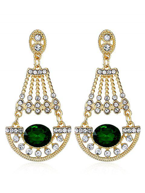 fashion Shiny Rhinestone Faux Gem Dangle Earrings - MEDIUM FOREST GREEN  Mobile