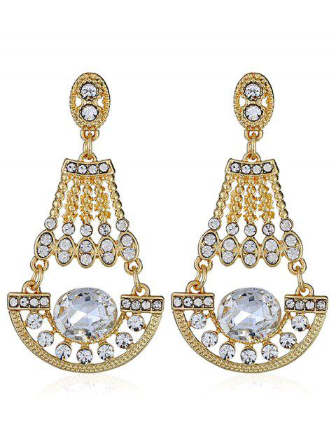 chic Shiny Rhinestone Faux Gem Dangle Earrings - WHITE  Mobile