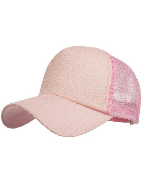hot Outdoor Solid Color Mesh Sun Hat - PINK  Mobile