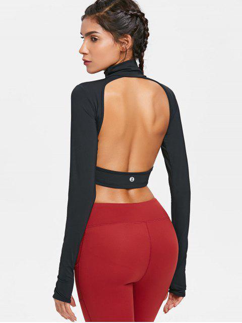 Rücken Ausgeschnitten Hoher Ausschnitt Trainings T-Shirt - Schwarz M Mobile