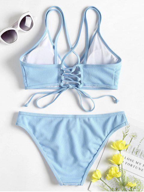 shop Cross Back Lace Up Bikini Set - LIGHT SKY BLUE S Mobile