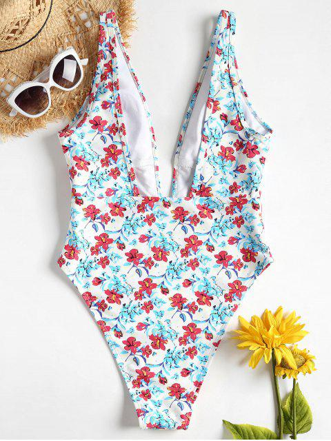 fashion Plunge Flower High Cut Swimsuit - MULTI M Mobile