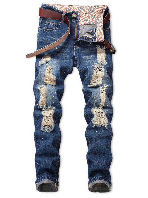 affordable Torned Spatter Paint Print Zipper Fly Jeans - LIGHT BLUE 38 Mobile