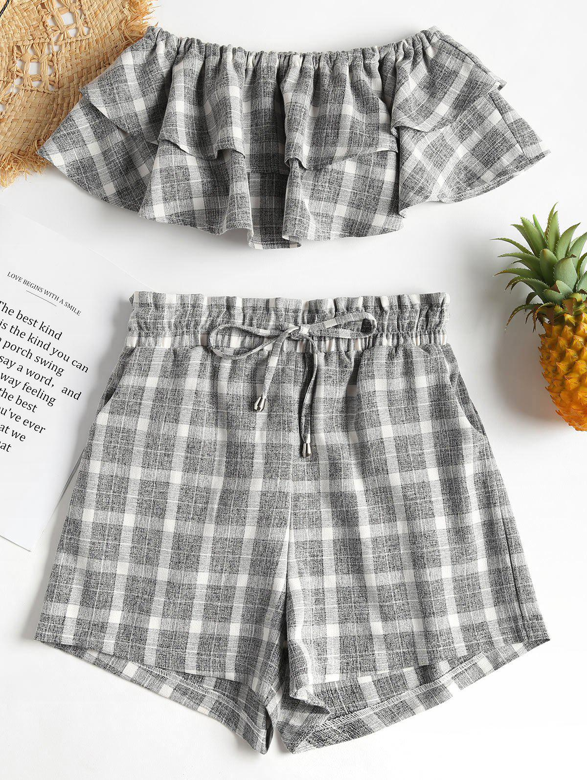 Checked Tube Top and Shorts Two Piece Set