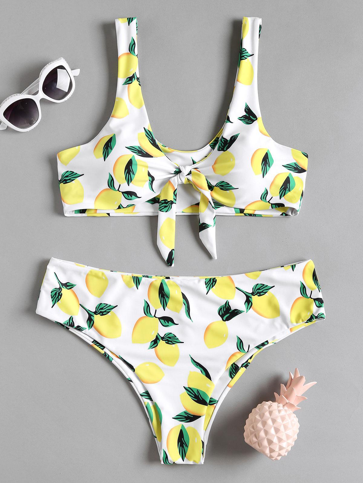 Lemon Print Plus Size Bikini Set