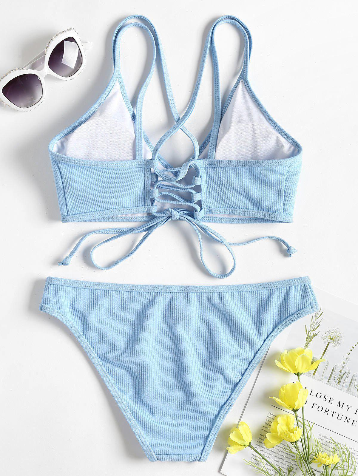 Cross Back Lace Up Bikini Set