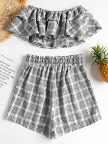 Piezas Y Gris Dos Checked Set Tube Shorts L De Top waq6RUvxT