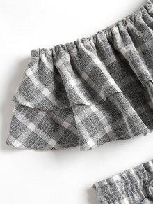 Gris Y Top Shorts Piezas De Checked Set Dos L Tube caqvgwRxRT
