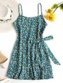 فستان بنمط لف من الورود - ضوء البحر الاخضر L