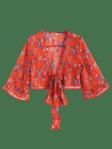 Floral Estampado Rojo Amo Delantera Con Blusa M AxtPnqfnO