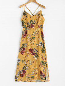 Strappy Flowy الأزهار فستان ماكسي - خردل Xl