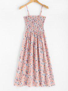 فستان بطبعة ورود منقوش بالزهور - وردي فاتح
