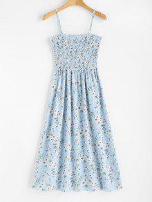فستان بطبعة ورود منقوش بالزهور - ضوء السماء الزرقاء