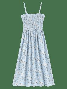 Estampado Pierna Vestido Con A De Media Celeste Floral Ligero Cami xxqZ1wR7