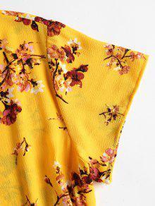 Ducky Caucho Vestido Con M Amarillo Floral Estampado Estampado wqvnSCaxBp
