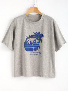 Nube De Gris Con Tree Extragrande Estampada De L Palm Palmeras Estampado Camiseta S6RxW