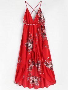 الأزهار الكشكشة ماكسي فستان الشاطئ - أحمر L