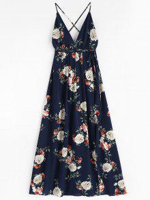 الأزهار طباعة عارية الذراعين فستان ماكسي - منتصف الليل الأزرق L