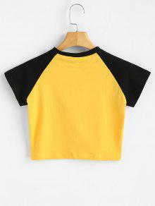 Con Estampada L Amarillo 225;fico Gr Camiseta Letras De gSq1qw4