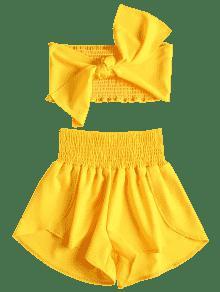 L Top Tie Amarillo Front De Dos Conjunto Piezas Shorts Bandeau rzEq8wxz