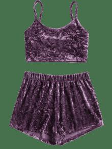 Terciopelo P Conjunto De Cami Shorts De 250;rpura Juego Viola Triturado De De L De Top qBnq8gvwW