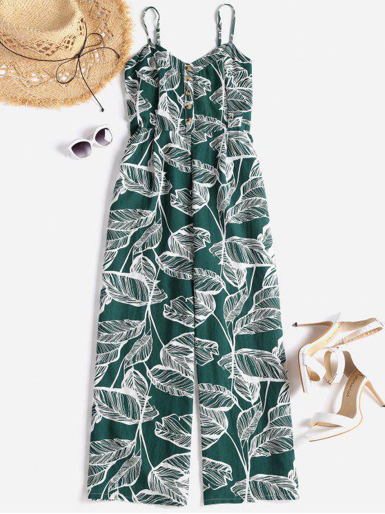 unique Smocked Tropical Wide Leg Jumpsuit - MEDIUM SEA GREEN S